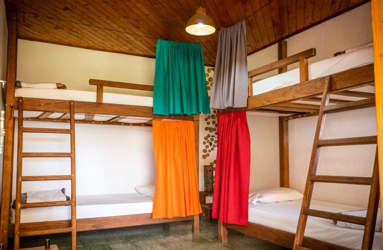 4 beds dorm with curtains