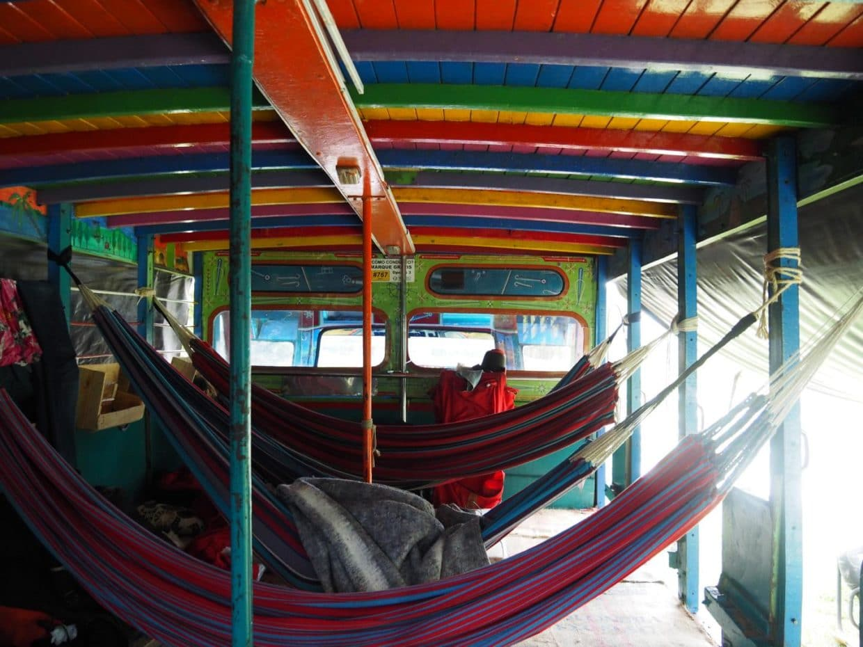 Colorfull hammocks inside the chiva bus