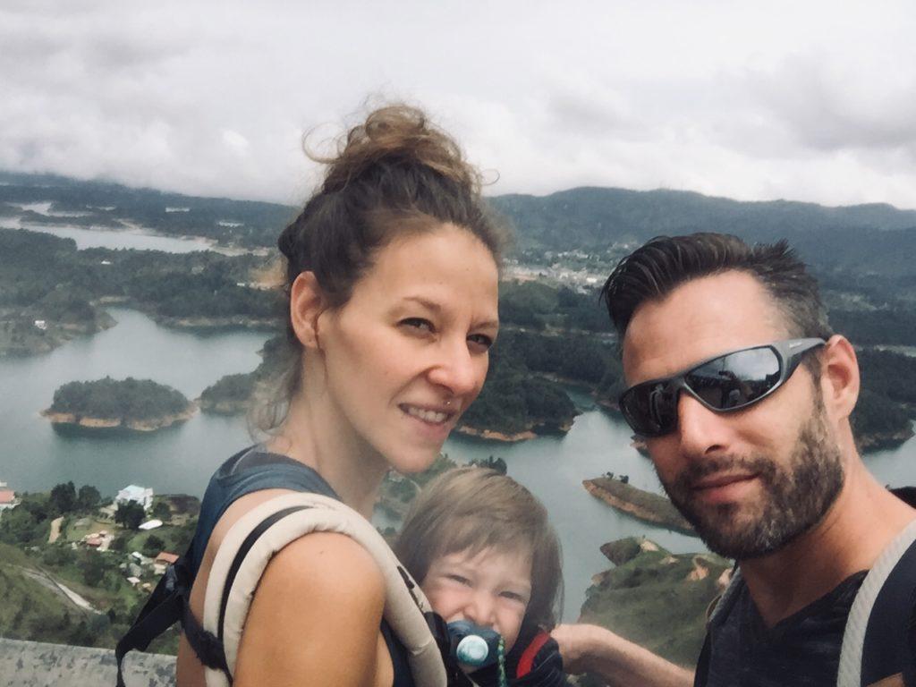 family at the top of penol rock in Guatape