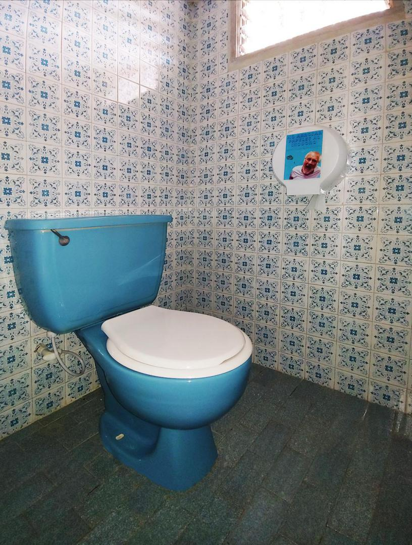 Blue toilet of our private room